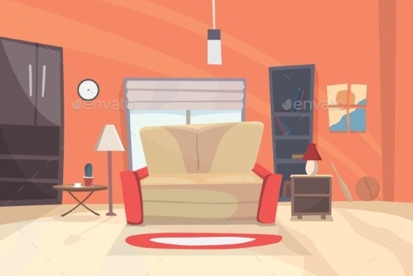 Living Room Cartoon Illustration. Eps 10 - Backgrounds Decorative