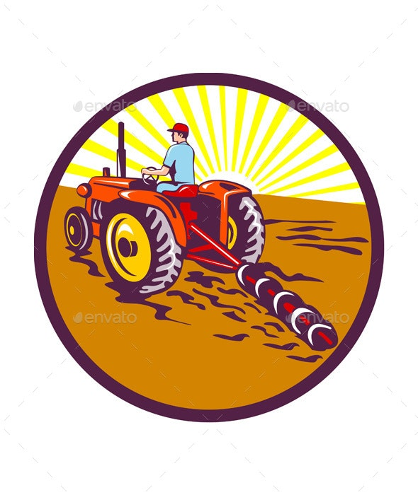 Farmer on Tractor Circle Retro - People Characters