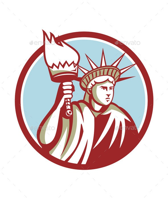 Statue of Liberty Holding Flaming Torch Circle Retro - Miscellaneous Vectors