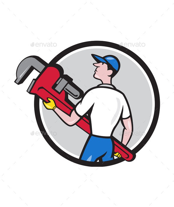 Plumber Carrying Monkey Wrench Circle Cartoon - People Characters