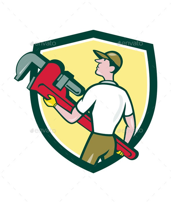 Plumber Carrying Monkey Wrench Crest Cartoon - People Characters