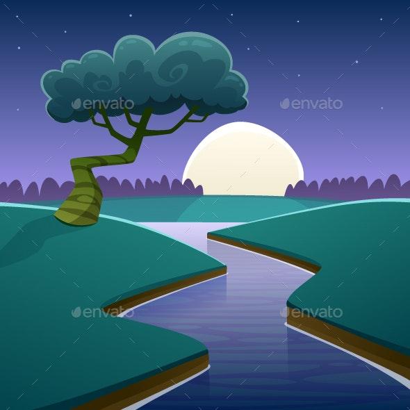 Night Cartoon Landscape - Landscapes Nature