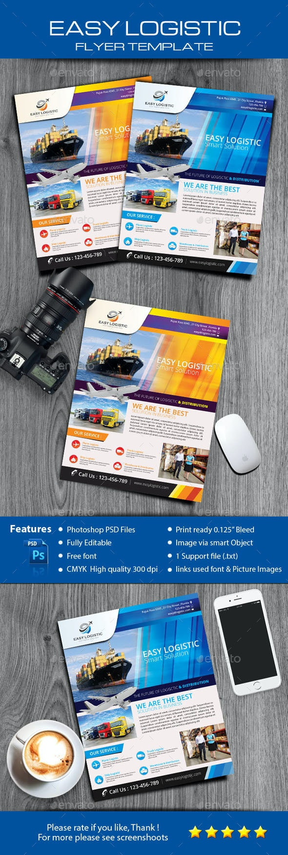 Easy Logistic Smart Solution Flyer - Corporate Flyers