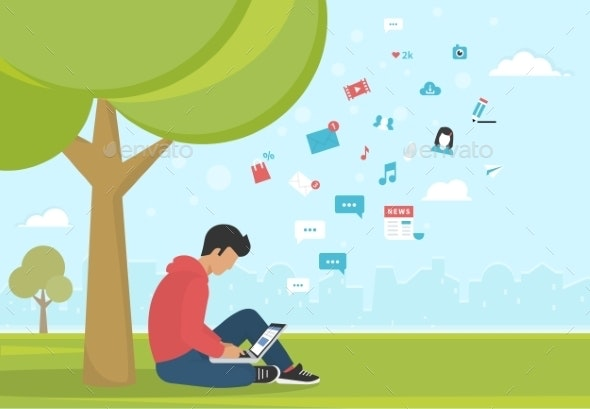 Young Man Sitting in The Park Under a Tree - Miscellaneous Conceptual