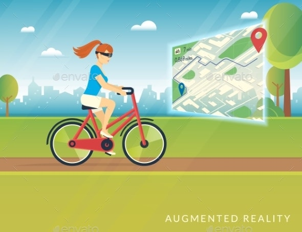 Young Woman Riding a Bike and Seeing Bicycle Path - Web Technology