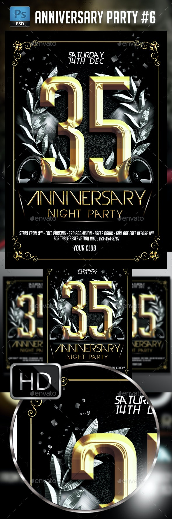 Anniversary Party #6 - Events Flyers