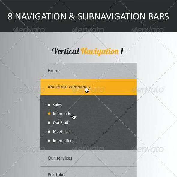 Vertical And Horizontal Navigation Menus