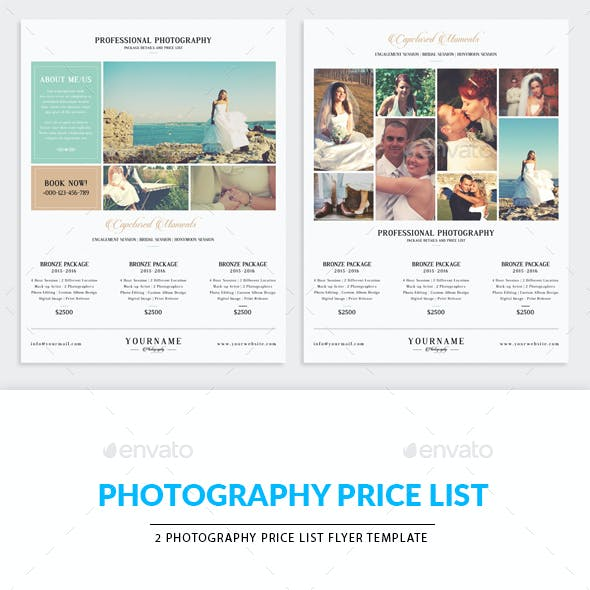 Minimal Photography Price List Marketing Flyer