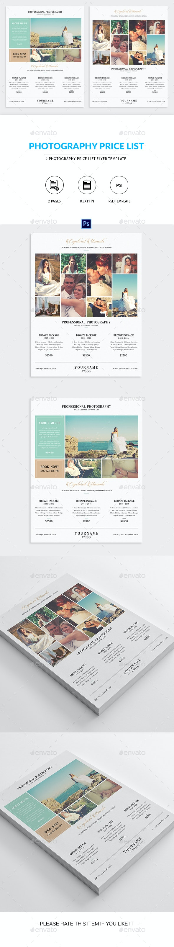 Minimal Photography Price List Marketing Flyer - Corporate Flyers