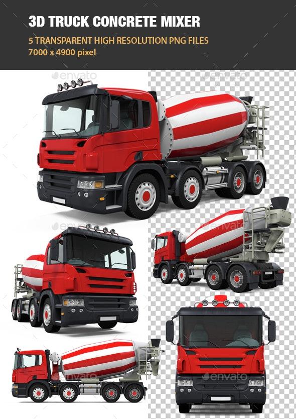 3D Truck Concrete Mixer - Objects 3D Renders