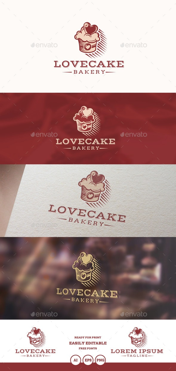 Love Cake Logo - Food Logo Templates