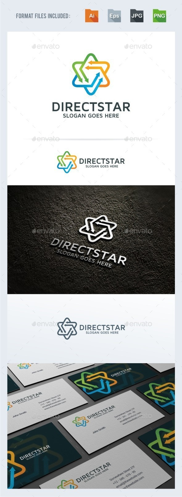 Direct Star Logo Template - Vector Abstract