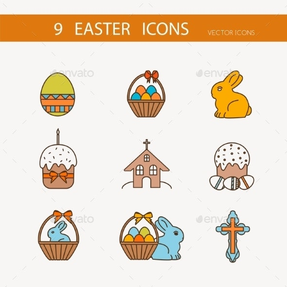 Vector Collection Of Cute Easter Icons - Seasonal Icons