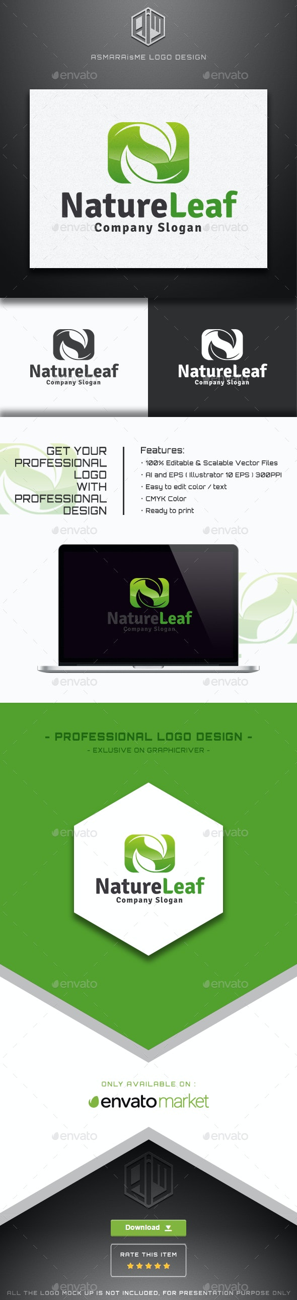 Nature Leaf - Letter N Logo - Nature Logo Templates