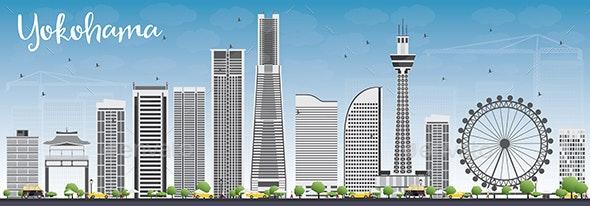 Yokohama Skyline with Gray Buildings and Blue Sky - Buildings Objects