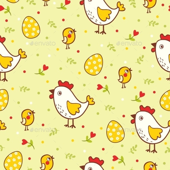 Happy Easter Pattern with Chicks and Eggs - Backgrounds Decorative