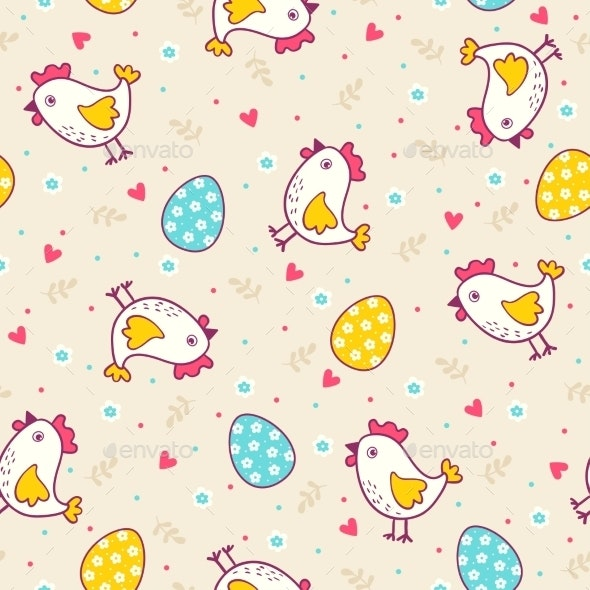 Seamless Easter Pattern with Chicken and Eggs - Decorative Symbols Decorative