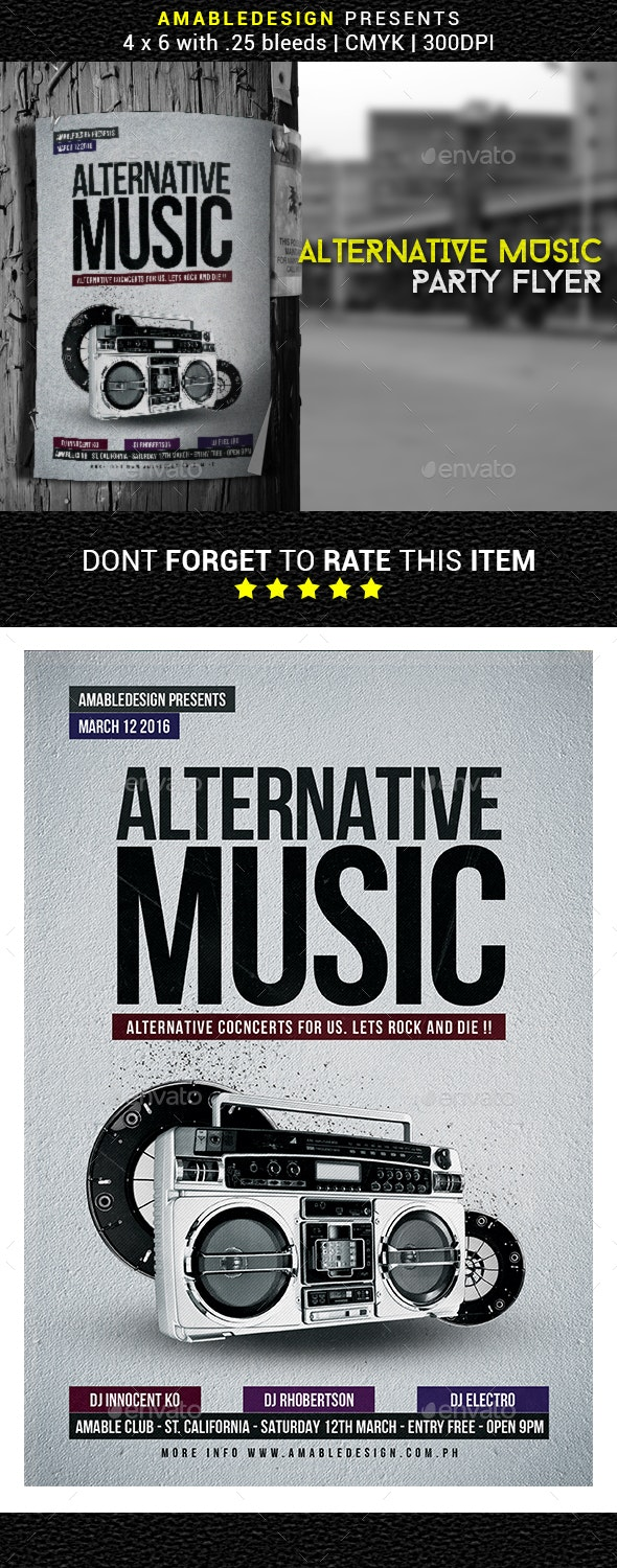 Alternative Music Flyer/Poster - Clubs & Parties Events