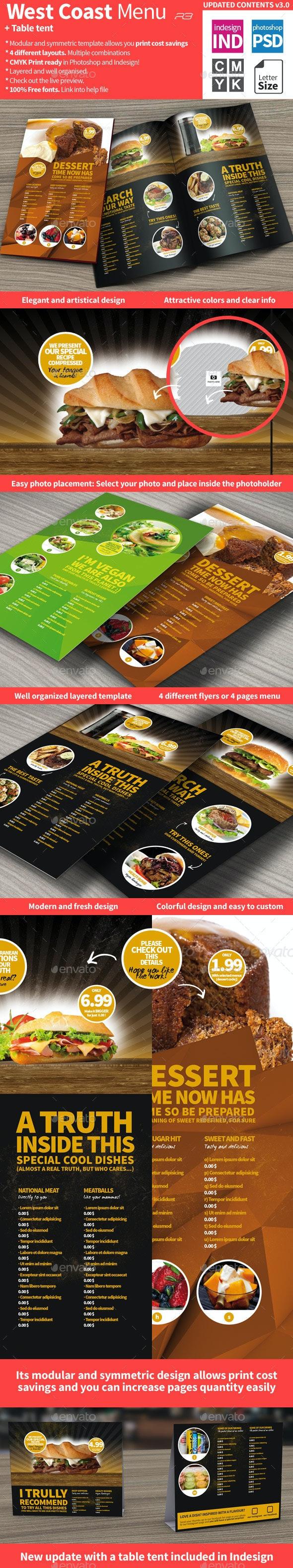 West Coast Menu Template - Food Menus Print Templates