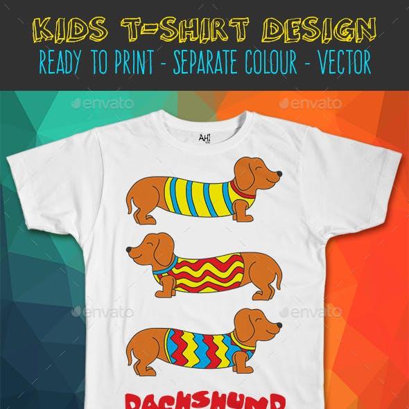 Dachshund Dog Funny Kids T-shirt Design