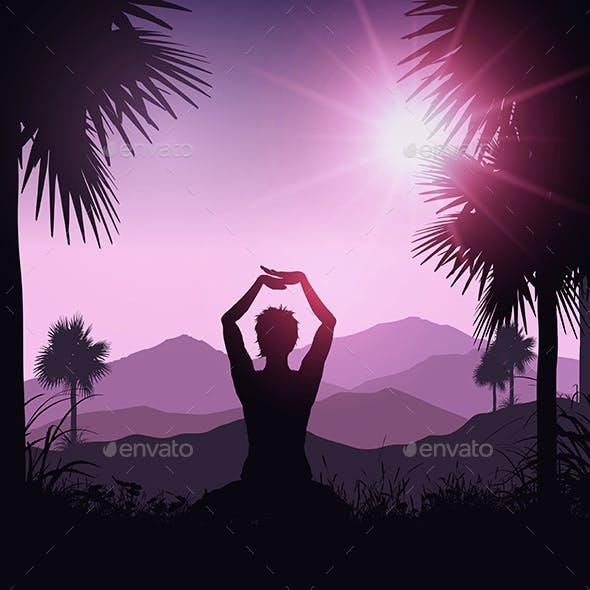 Female in Yoga Pose in Tropical Landscape