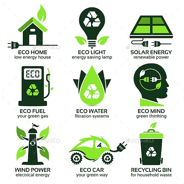 Eco Flat Symbols - Web Elements Vectors