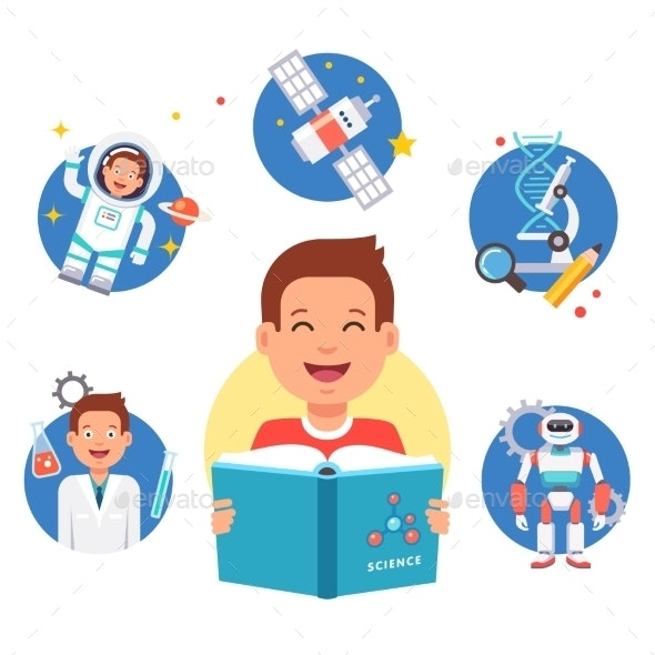 Young Science Learner Kid - People Characters