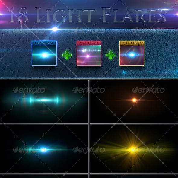 18 Unique Lens Flares - Light Effects Bundle 1-3