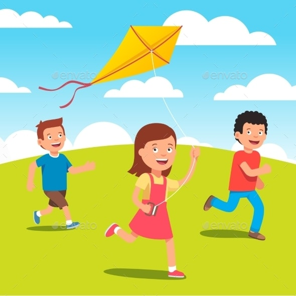 Kids Playing with Kite Together at the Meadow - People Characters