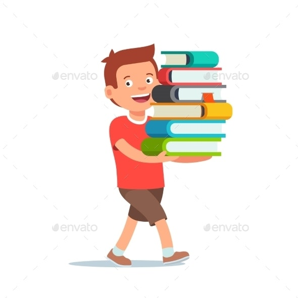 Boy Walking with Big Pile of Books - People Characters