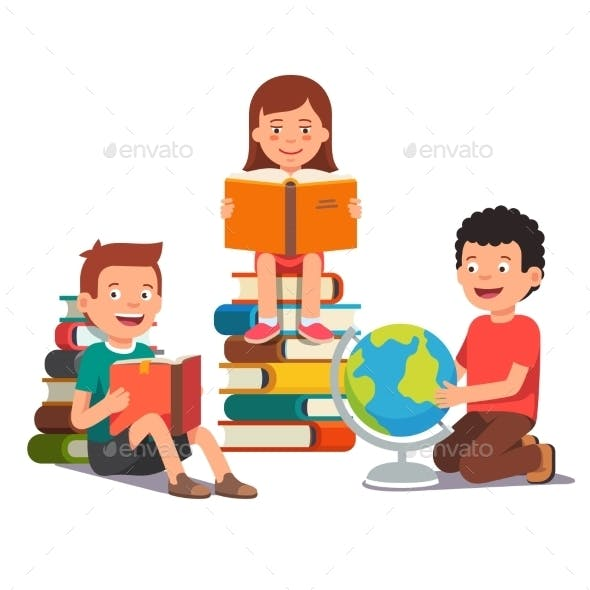 Group of Kids Studying and Learning Together