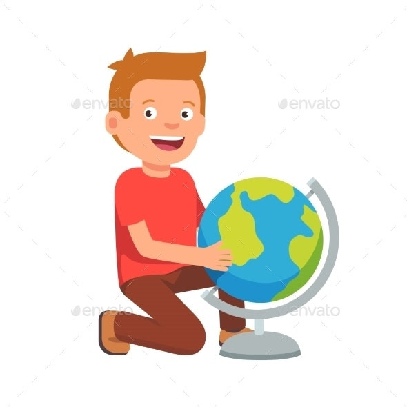 Kid Sitting at Terrestrial Globe - People Characters