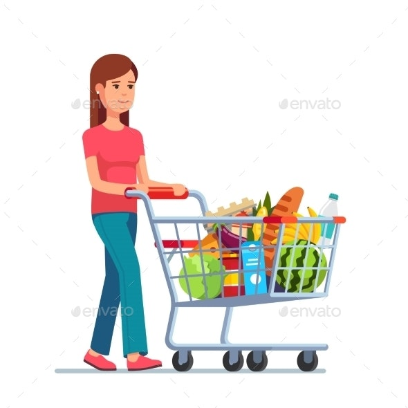 Young Woman Pushing Supermarket Shopping Cart - People Characters