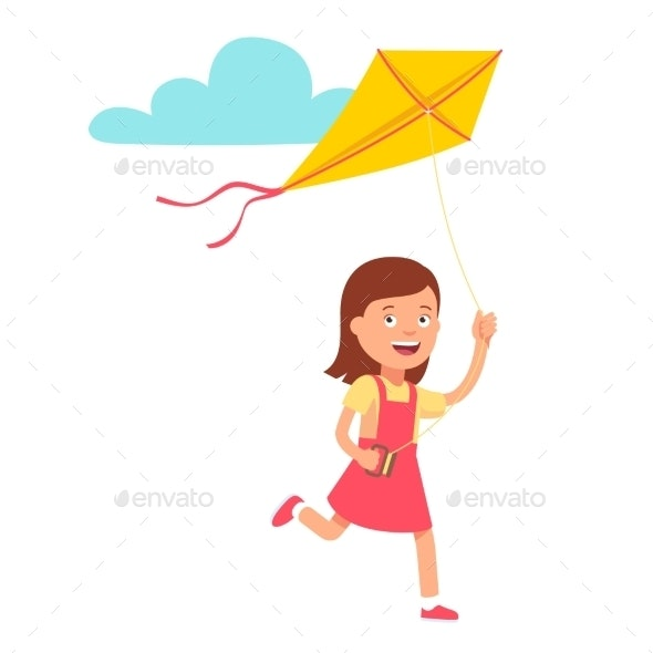 Girl Running and Playing Kite - People Characters