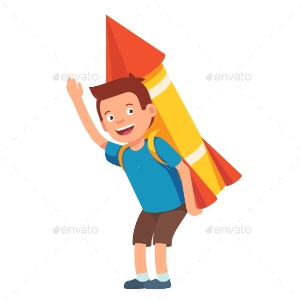 Boy Playing with Cardboard Space Rocket - People Characters