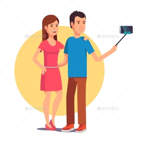 Couple Photographing Themselves on Selfie Stick - People Characters