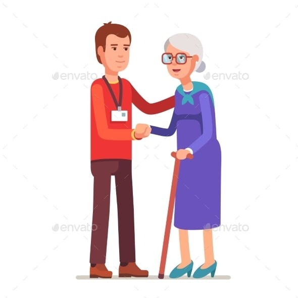 Young Man with Badge Helping an Old Lady