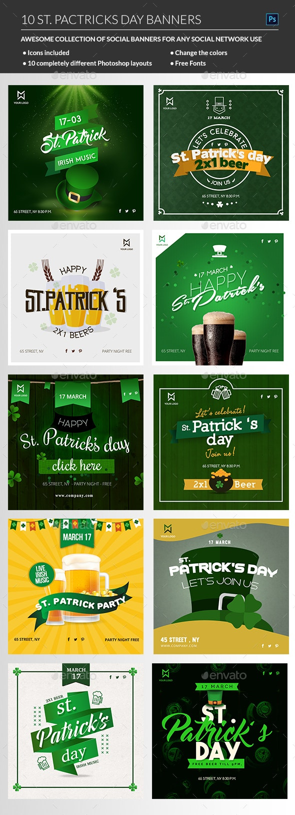 St Patricks Day Banners - Banners & Ads Web Elements