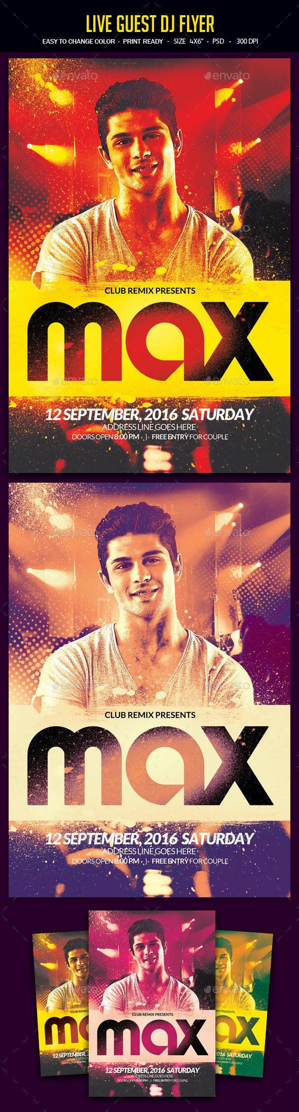Live Guest Dj Flyer - Clubs & Parties Events
