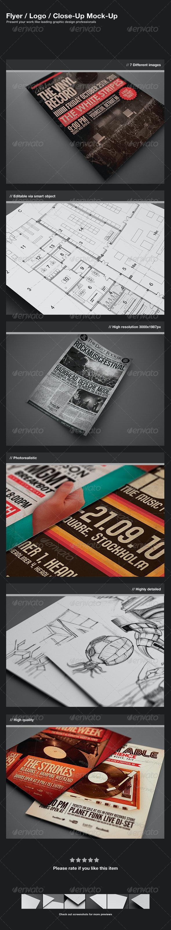 Flyer / Logo / Close-Up Mock-Up - Flyers Print