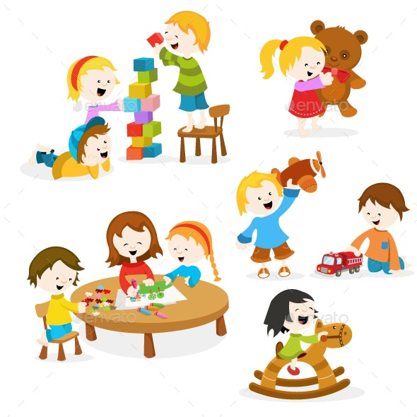 Kids Playing with Toys - People Characters