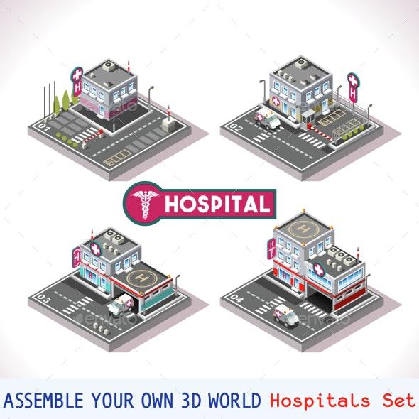 Game Set 15 Building Isometric - Health/Medicine Conceptual