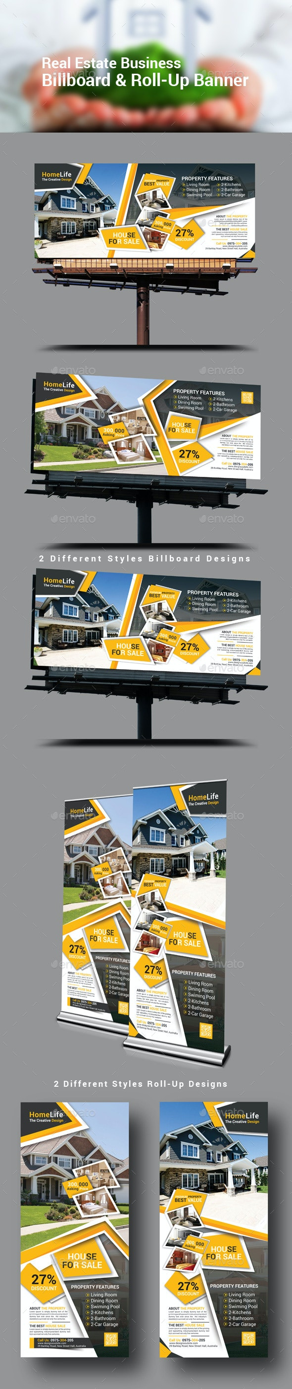 Real Estate Business Billboard & Roll-Up Banner - Signage Print Templates