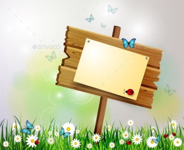 Advertisement Wooden Board - Flowers & Plants Nature