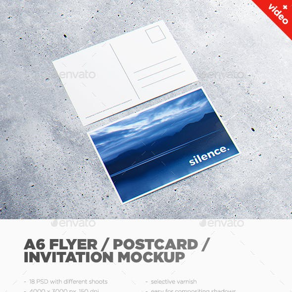 A6 Flyer / Postcard / Invitation MockUp