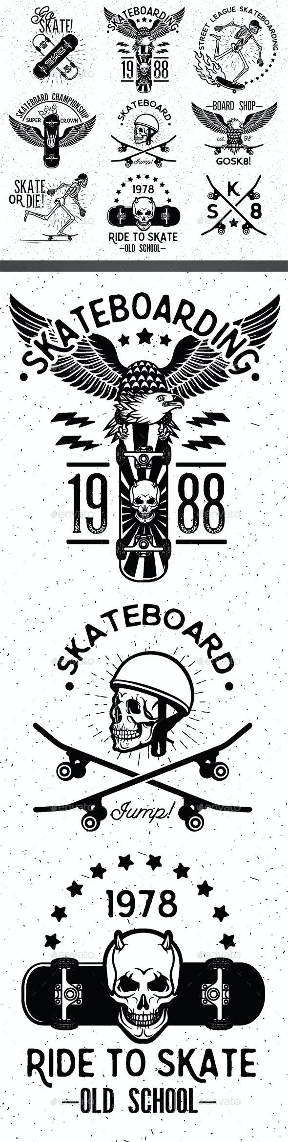 Set of Skateboarding Design Elements - Sports/Activity Conceptual