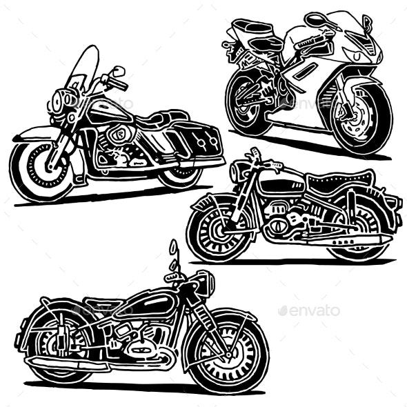 Retro Motorcycle Illustration - Decorative Symbols Decorative