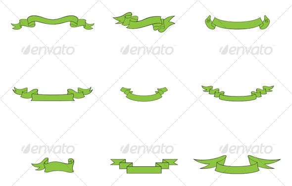Green Ribbons - Decorative Symbols Decorative