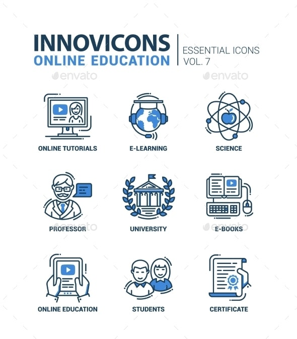 Modern School and Education Thin Line Design Icons - Web Technology