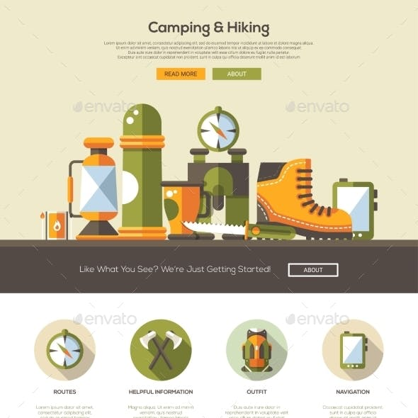 Camping, Hiking Website Template With Header